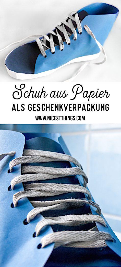 Schuh aus Papier basteln Anleitung Geschenkverpackung Geldgeschenk #schuh #papier #basteln #geldgeschenk #geschenkverpackung