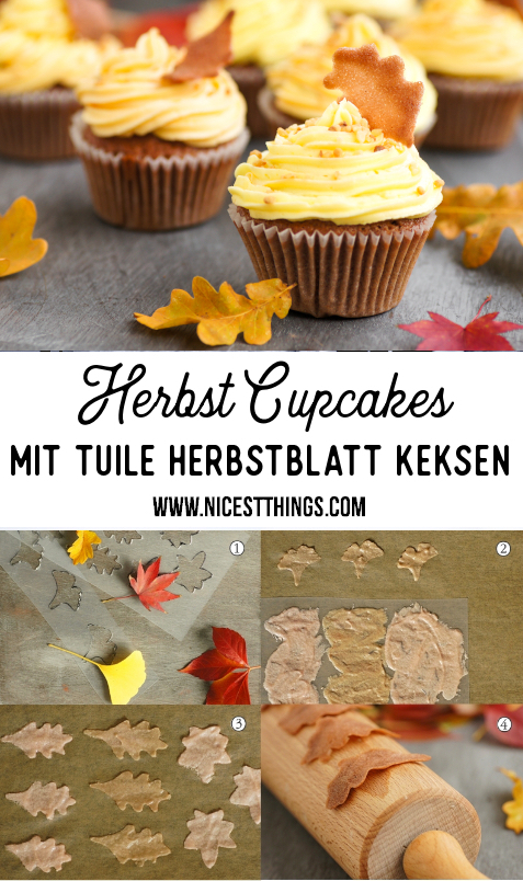 Herbst Cupcakes Tuile Blätter Herbstblätter Kekse #cupcakes #herbst #krokant #rum #tuiles #herbstrezepte #foodblogger