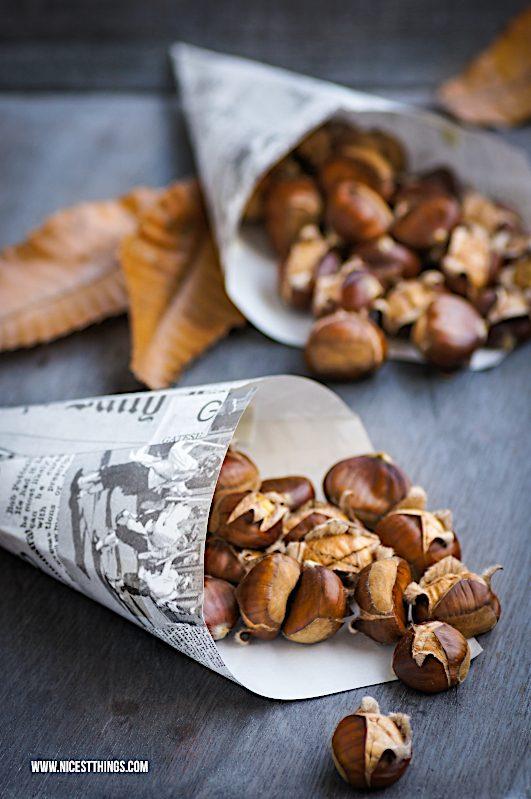 Maronen im Backofen rösten Maronen zubereiten Esskastanien Maroni Rezept #maronen #esskastanien #keschde #maroni