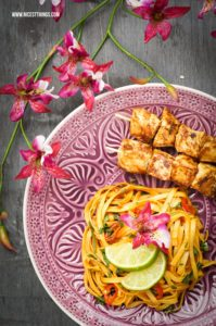 Thai Chili Nudeln Chicken Satay #thai #nudeln #chickensatay #asianudeln