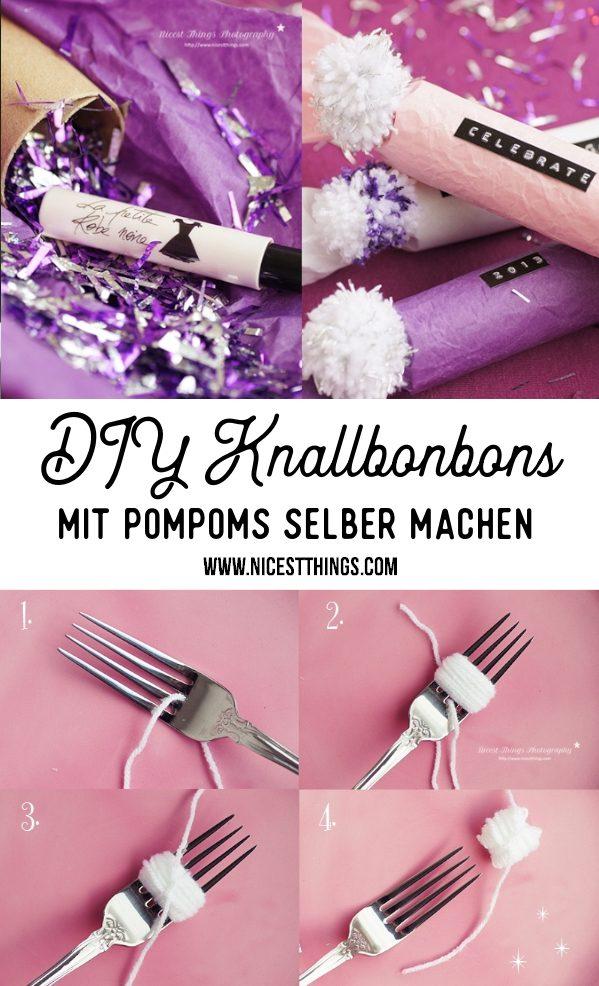 DIY Knallbonbons mit Pompoms selber machen Silvester #silvester #diy #knallbonbons #pompoms