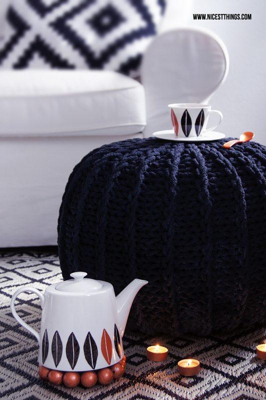 Porzellan bemalen DIY Geschirr tassen Teekanne in Kupfer Schwarz Weiss