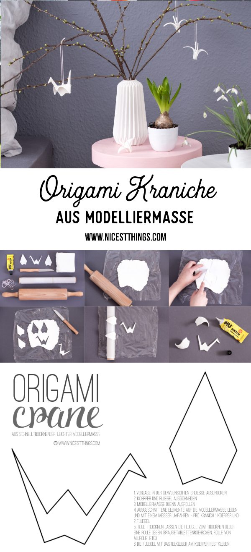 Origami Kranich Modelliermasse Origamikraniche Fimo DIY Frühlingsdeko #origami #papier #diy #modelliermasse #fimo #kranich #kraniche #dixblogger #frühlingsdeko
