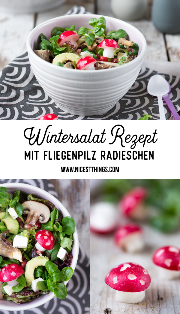 Wintersalat Rezept vegan mit Fliegenpilz Radieschen #wintersalat #winter #salat #vegan #rezept #radieschen #avocado #granatapfel #pilze #foodblogger #detox #cleaneating #healthy #salad
