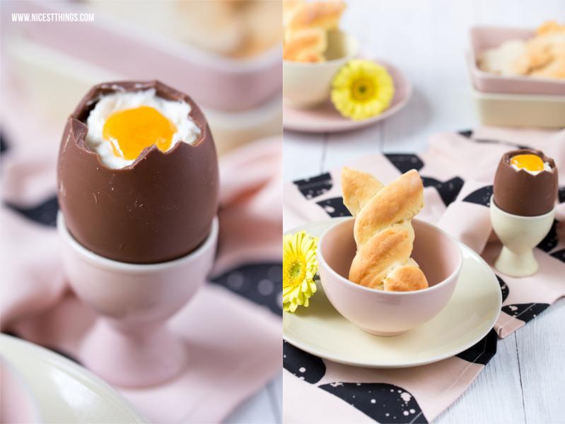 Osterbrunch Rezepte Löffeleier selber machen Hefehasen Deko Ideen Ostern Frühstück Ostertisch