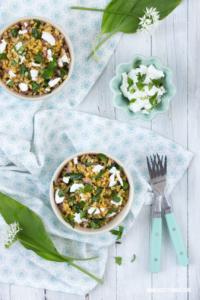 Bärlauch Risotto Rezept mit Ziegenkäse und Ebly #bärlauch #risotto #ziegenkäse #ebly #frühlingsrezepte #vegetarisch
