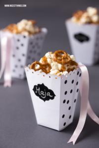 DIY Popcorn Box basteln Salzkaramell Popcorn Rezept #popcorn #popcornbox #salzkaramell #party #geschenkidee