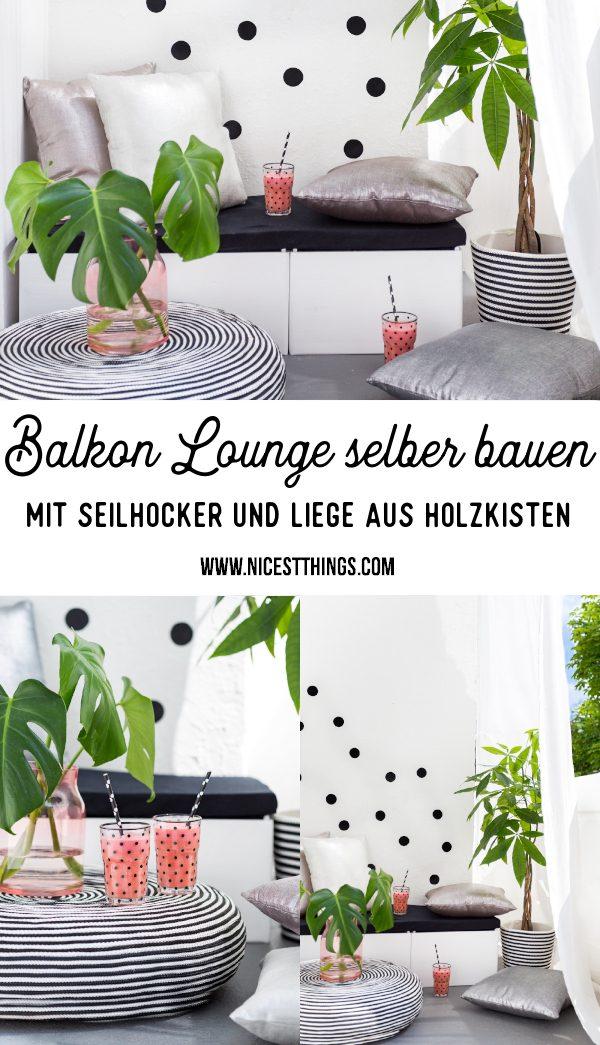 Balkon Lounge selber bauen Holzkisten Liege Seilhocker Balkonmöbel DIY #balkon #lounge #balkonlounge #garten #terrasse #diy #balkonmöbel #seilhocker