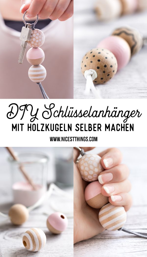 DIY Schlüsselanhänger selber machen mit Holzperlen Holzkugeln #diy #schlüsselanhänger #holzperlen #holzkugeln #geschenkidee #keychain #diykeychain #gastgeschenk