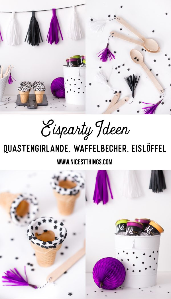 Eisparty Eiscreme Party Eis Party Ideen Quasten Girlande Wffelbecher DIY Eislöffel Eis Sweet Table #sweettable #eisparty #eiscreme #party #eis #icecream #tasselgarland