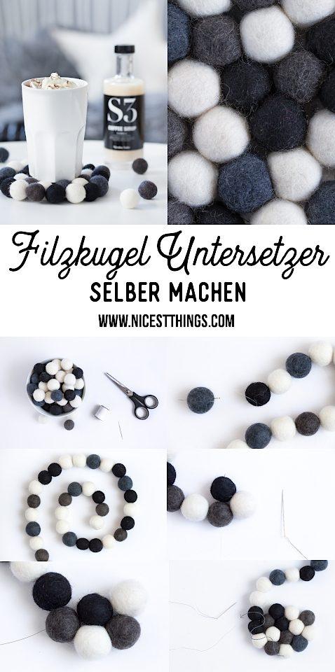 DIY Filzkugel Untersetzer #diy #filzkugeln #untersetzer #filz #herbst #bastelideen