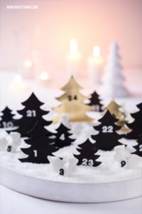 Buddel Adventskalender selber machen Schneelandschaft Weiss Gold Kunstschnee #adventskalender #advent #weihnachten #kunstschnee #schneelandschaft #moosgummi