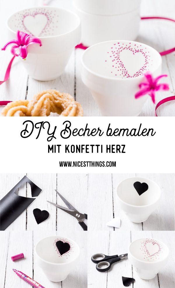 Tassen bemalen DIY Becher Herz Valentinstag Geschenke #diytassen #valentinstag #confettimugs #sharpie #heartmugs #herztassen #geschenkideen #porzellanbemalen