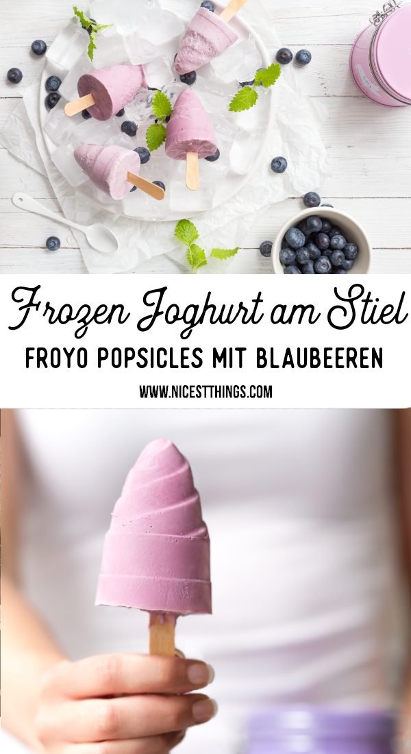 Frozen Joghurt Rezept FroYo Eis am Stiel Frozen Yogurt Popsicles Blaubeeren #frozenjoghurt #frozenyogurt #froyo #eiscreme #icecream #popsicles #blueberries #blaubeeren