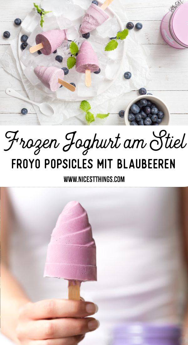 Frozen Joghurt Rezept FroYo Eis am Stiel Frozen Yogurt Popsicles Blaubeeren #frozenjoghurt #frozenyogurt #froyo #eiscreme #icecream #popsicles #blueberries #blaubeeren