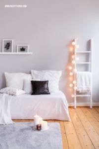 Wohnzimmer Deko Winter Leiter Lichterkette