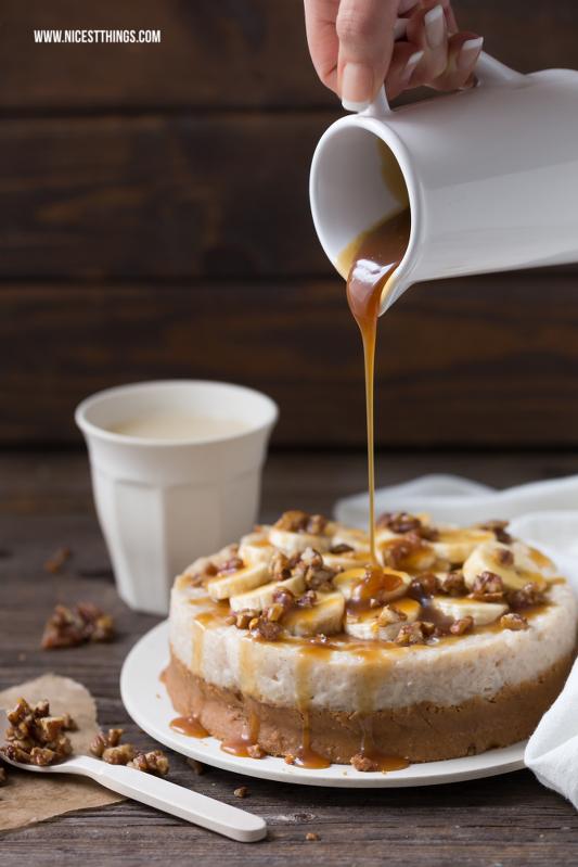 Milchreis Torte ohne Backen mit Bananen, Karamell ...