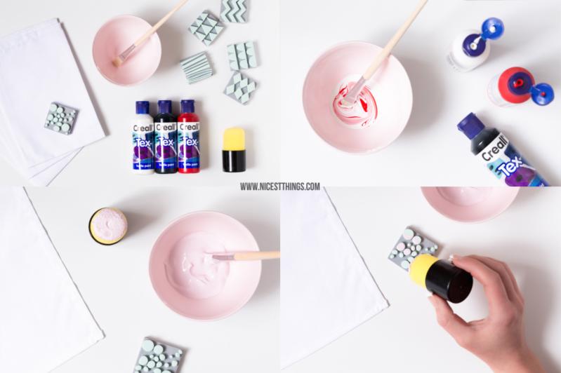 DIY Servietten bestempeln mit Textilfarbe zu Ostern