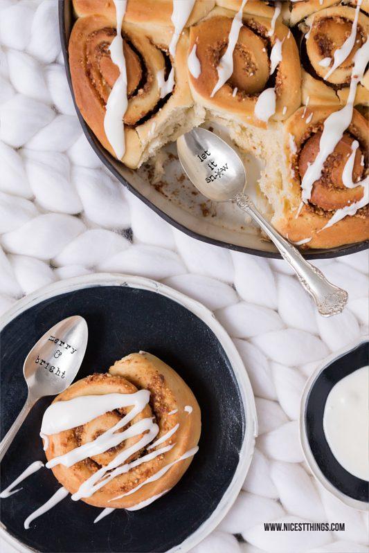 Zimtschnecken Kuchen mit gebrannten Mandeln