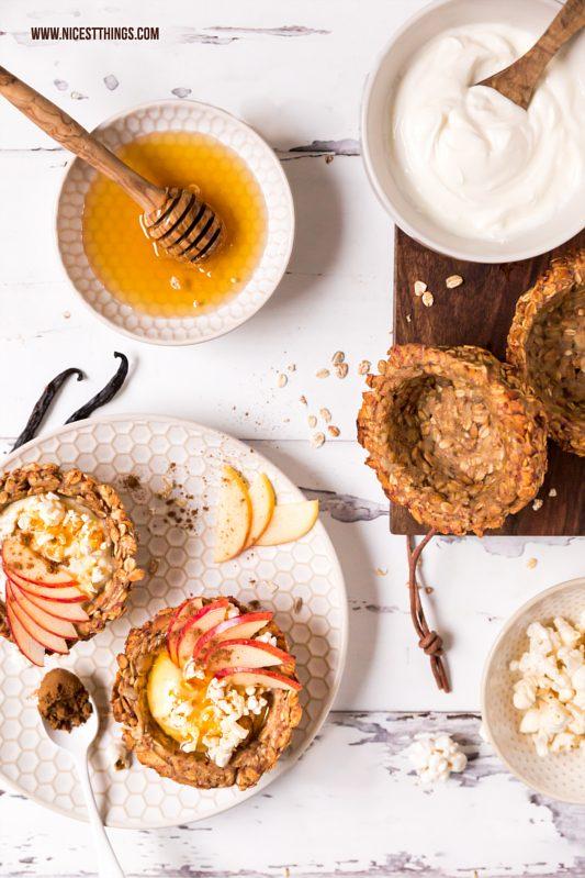 Granola Cups / Müsli Cups mit Joghurt, Honig, Apf...