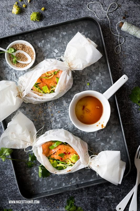 Lachs Päckchen aus dem Backofen Teriyaki Ofenlachs Rezept