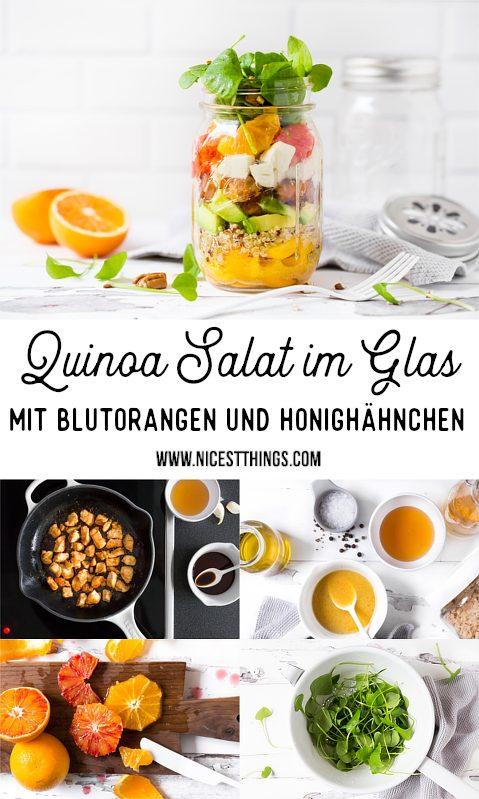 Salat im Glas mit Quinoa, Honig Hähnchen, Orange, Blutorange, Avocado #mealprep #salatimglas #mealprep #saladinajar #quinoa #blutorange #honig #picknickrezepte #partyrezepte #hähnchen #orange