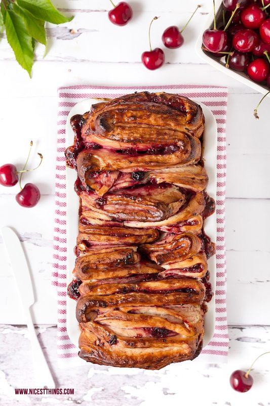 Faltenbrot süß mit Kirschen und Marzipan, Monkey Bread Thermomix