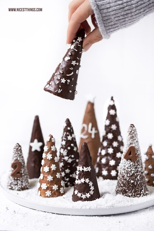 DIY Adventskalender Eiswaffel Bäume, Winterwald aus Eistüten