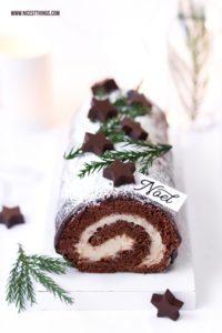 Bûche de Noël Rezept mit Maronen