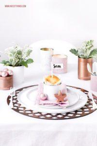 DIY Tischdeko für Weihnachten Dosen Windlichter Rosegold