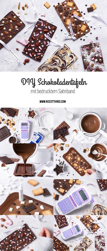 DIY Schokoladentafeln Schokolade selber machen Last Minute Geschenk Textilband bedrucken
