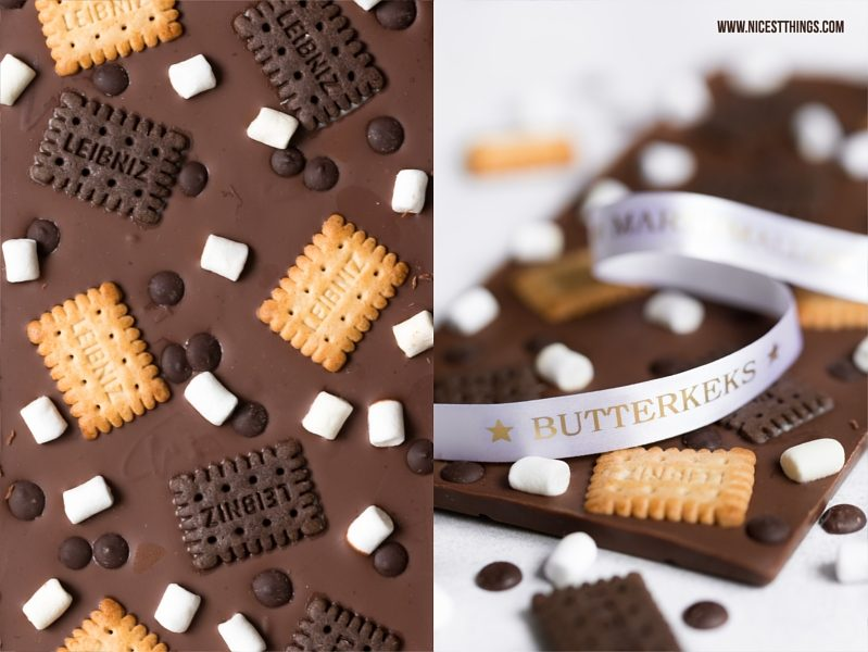 DIY Schokolade Butterkeks Marshmallow mit bedrucktem Band