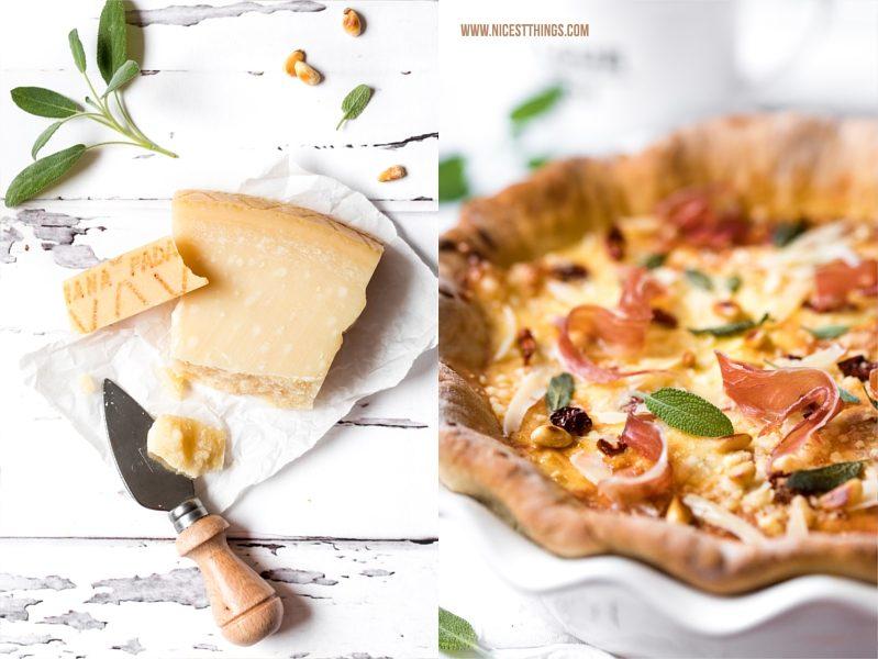 Grana Padano Quiche Tarte Rezept mit Prosciutto und getrockneten Tomaten