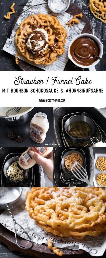 Strauben Funnel Cakes Rezept mit Bourbon Schokoladensauce und Ahornsirup Sahne