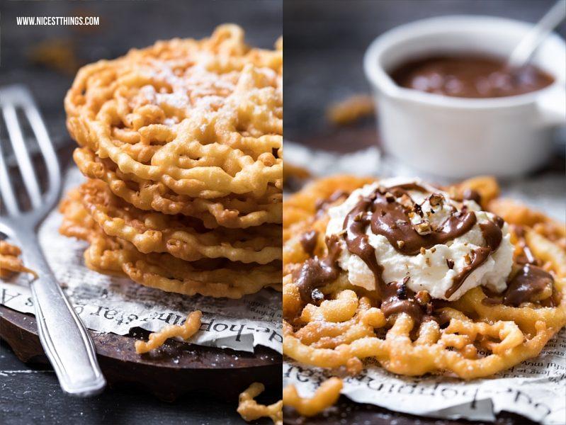 Strauben Funnel Cake Rezept mit Schokoladensauce