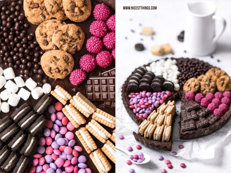 Candy Tarte Rezept mit Schokoladen Ganache, Oreos, Smarties, Marshmallows