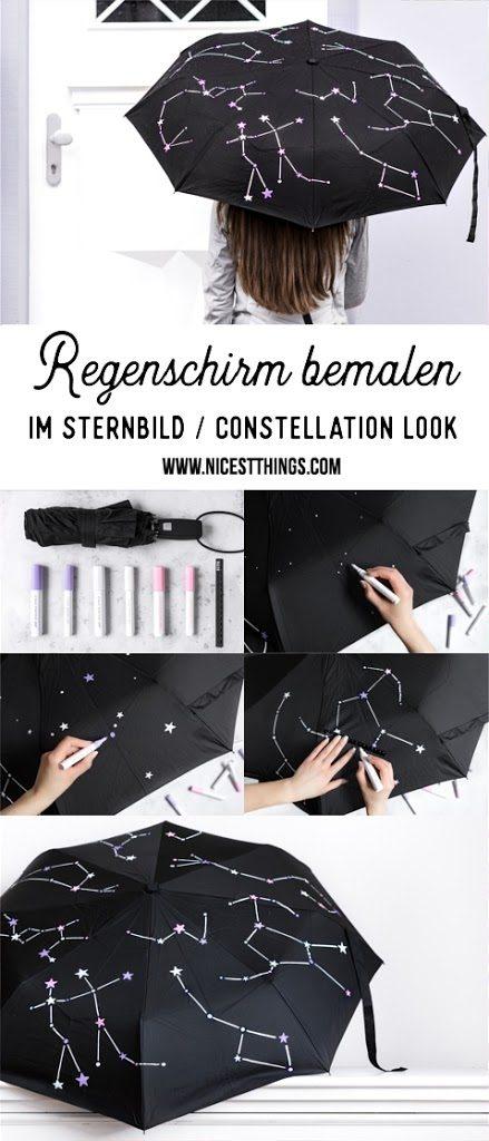 DIY Regenschirm bemalen Schirm Constellation Sternbilder Sterne