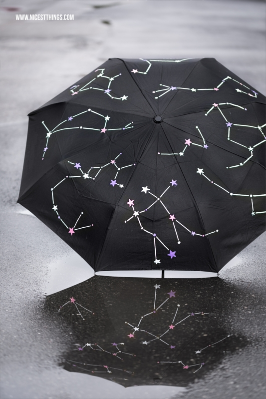 Schirm bemalen Regenschirm DIY Sternbilder Constellation Umbrella