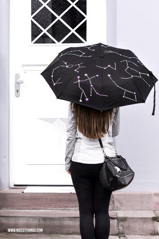 DIY Regenschirm bemalen Sternbilder Sterne Schirm Constellation Umbrella