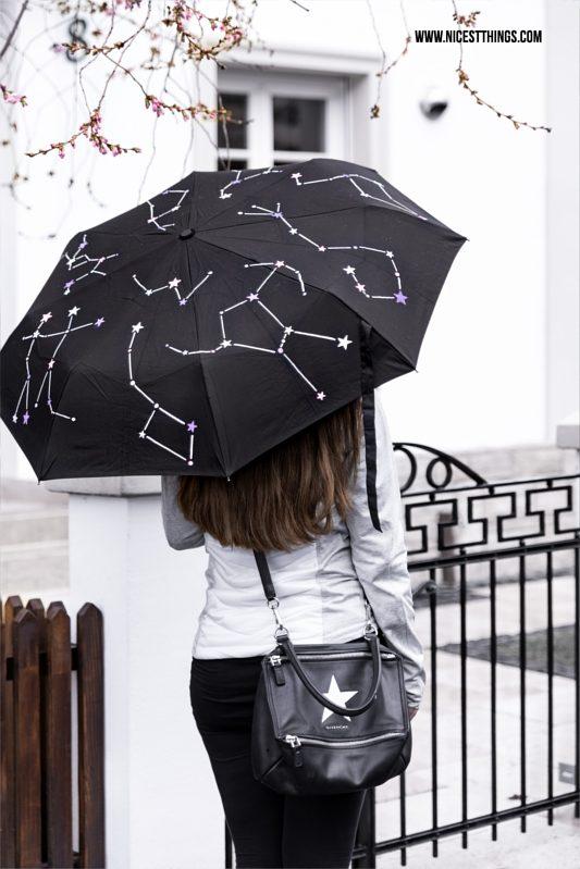 DIY Regenschirm Schirm bemalen Sternbilder Sterne