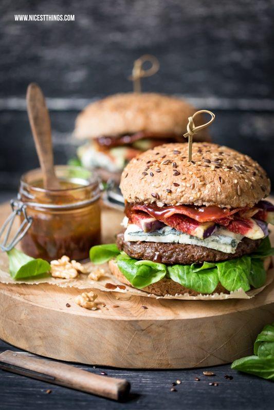 Herbst Burger Rezept mit Walnusspesto, Gorgonzola, Feigen & Bacon