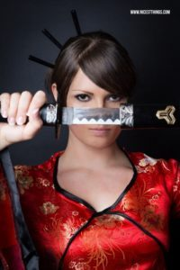 Samurai Shooting Kill Bill Geisha Kostüm Katana