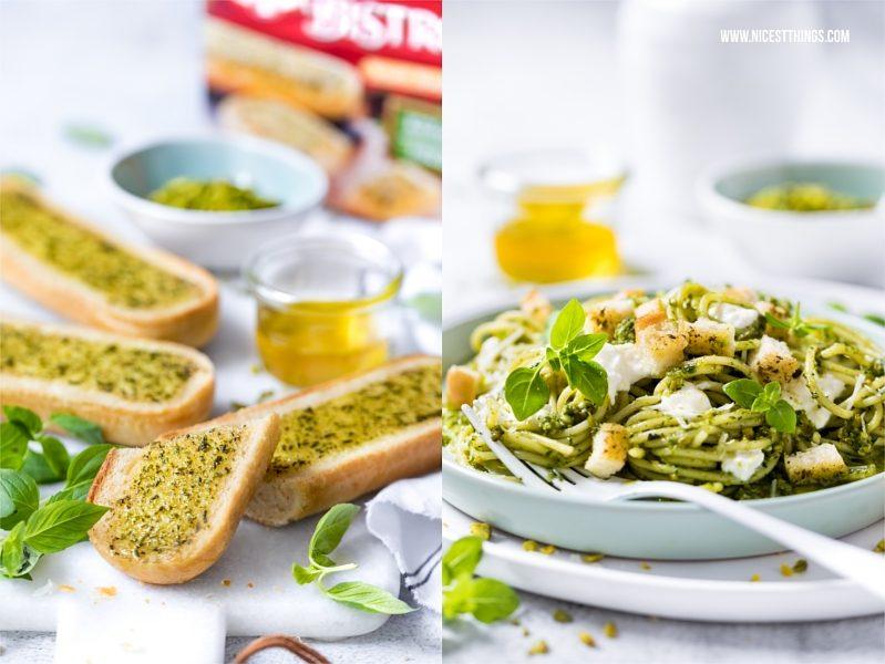 Dr. Oetker Snack Baguette Kräuter als Beilage zu Pasta mit Pistazienpesto