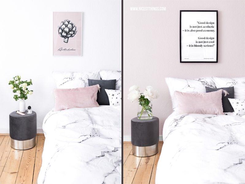 Rosa Wandfarbe im Schlafzimmer vorher nachher