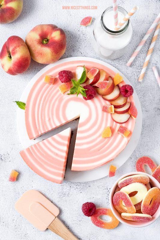 Zebra Cheesecake zebrakuchen Rezept Pfirsich