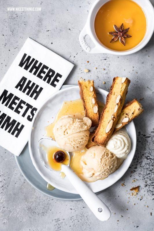 Toskana Eisdessert mit Karamell Eiscreme, Biscotti und Vin Santo