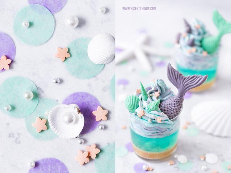 Meerjungfrau Dessert Mit Meerjungfrauen Flossen Blauer