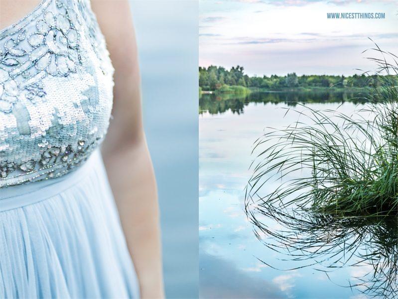 See Fotoshooting blaues Kleid Schilf