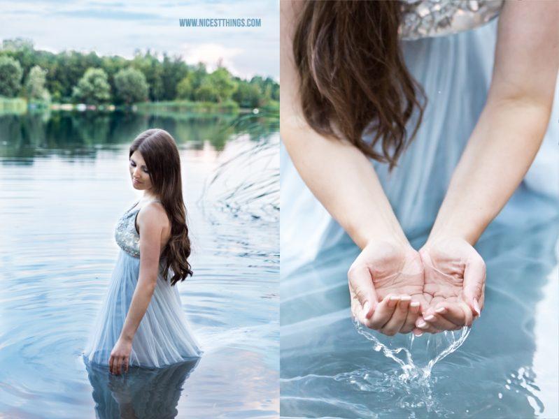 Shooting im Wasser Frau mit Kleid im See