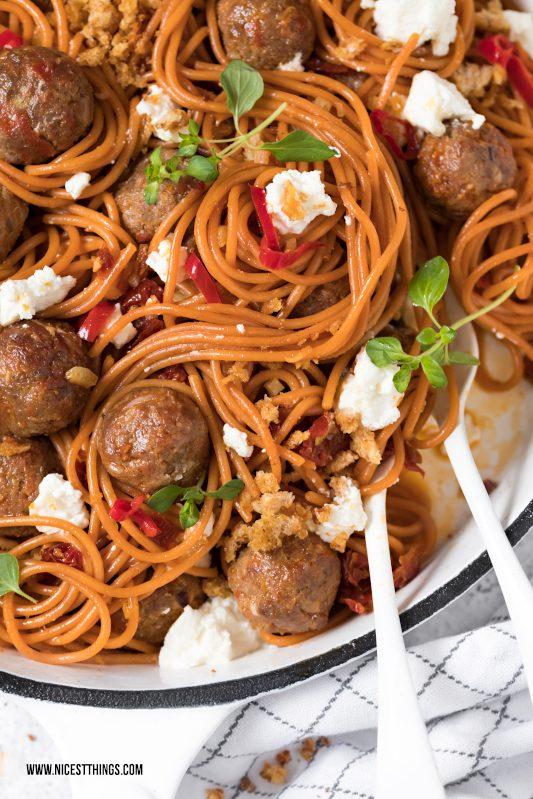 Chorizo Meatball Spaghetti Hackbaellchen Rezept #chorizo #spaghetti #pasta #meatballs